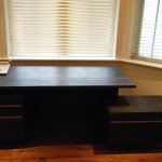 Huge solid oak desk with drawers.