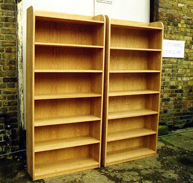 Two free standing bookshelves made of American white oak to match exactly one the client already owned.
