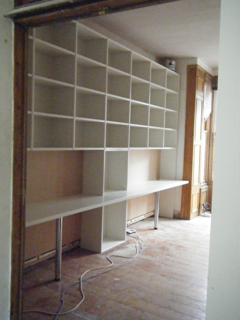"""Main room 12"""" vinyl storage and workstation. Yes, the floor had to be strengthened!"""
