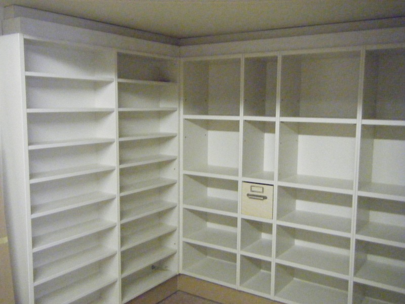 "Basement storage for 12""vinyl, CDs and 7"" vinyl in drawers ~ one shown."