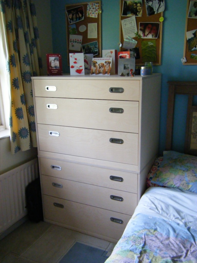 Birch ply chest of drawers for young lady, lifts apart into two sections for moving, and the two sections can stand side by side.
