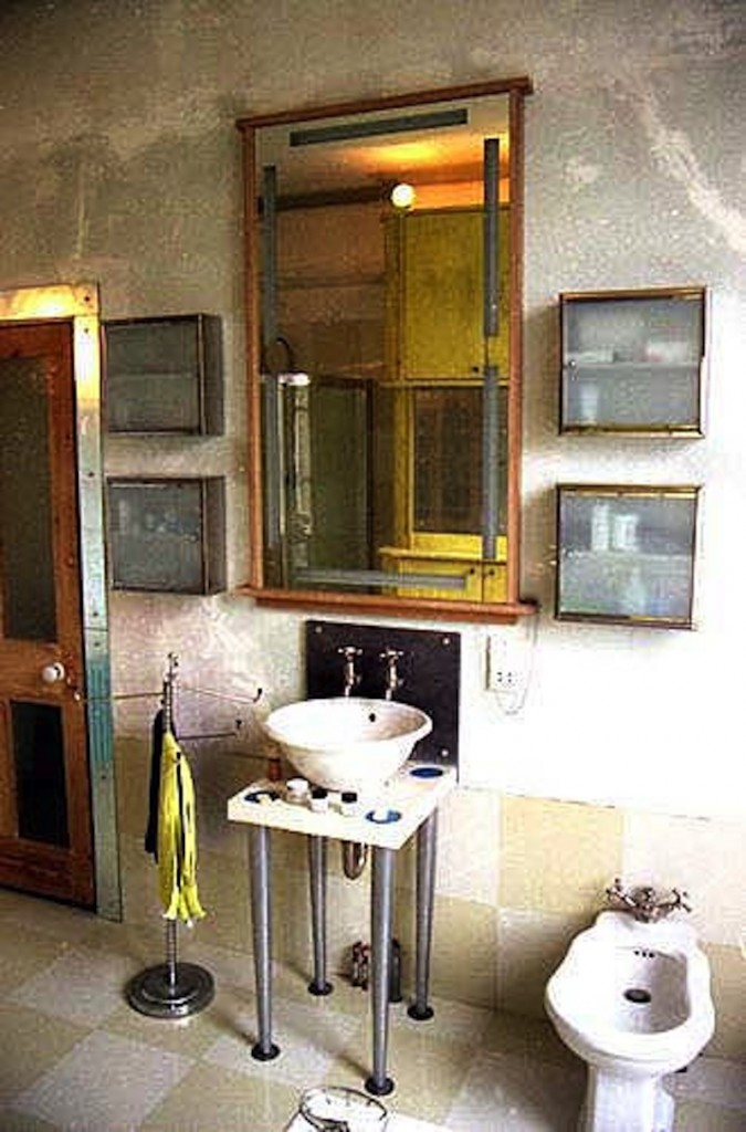 Door stripped, glazed with etched glass, hand mirrored architrave.