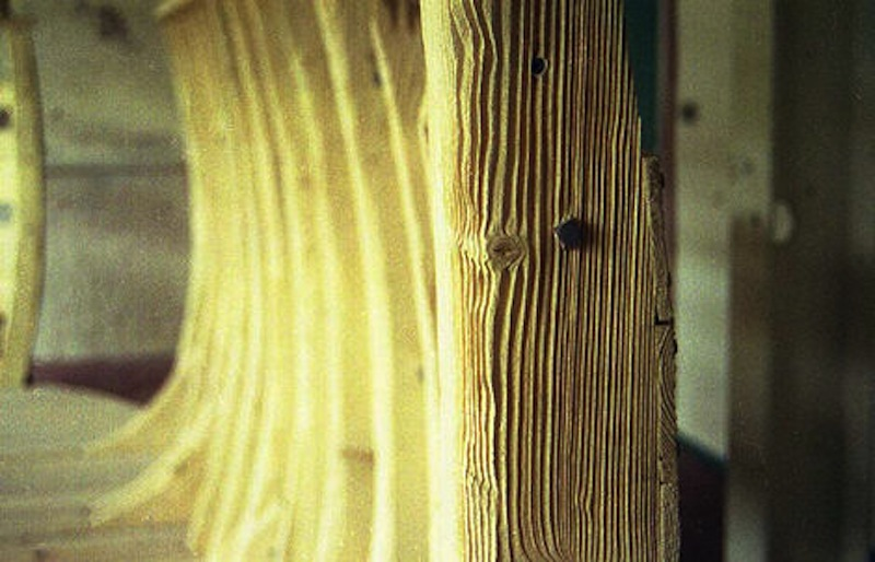 Close up showing how the pine has been grit blasted, before it was 